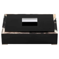 Selene Box in Glossy Black Lacquered Wood with Corno Italiano Inlays, Mod. 5311s