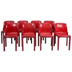 Selene Stacking Chairs by Vico Magistretti for Artemide in Dark Red