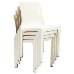 'Selene' Stacking Chairs in White by Vico Magistretti for Artemide, 1969