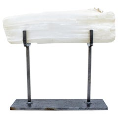 Selenite Log with Natural Forming Pearls on Custom Stand