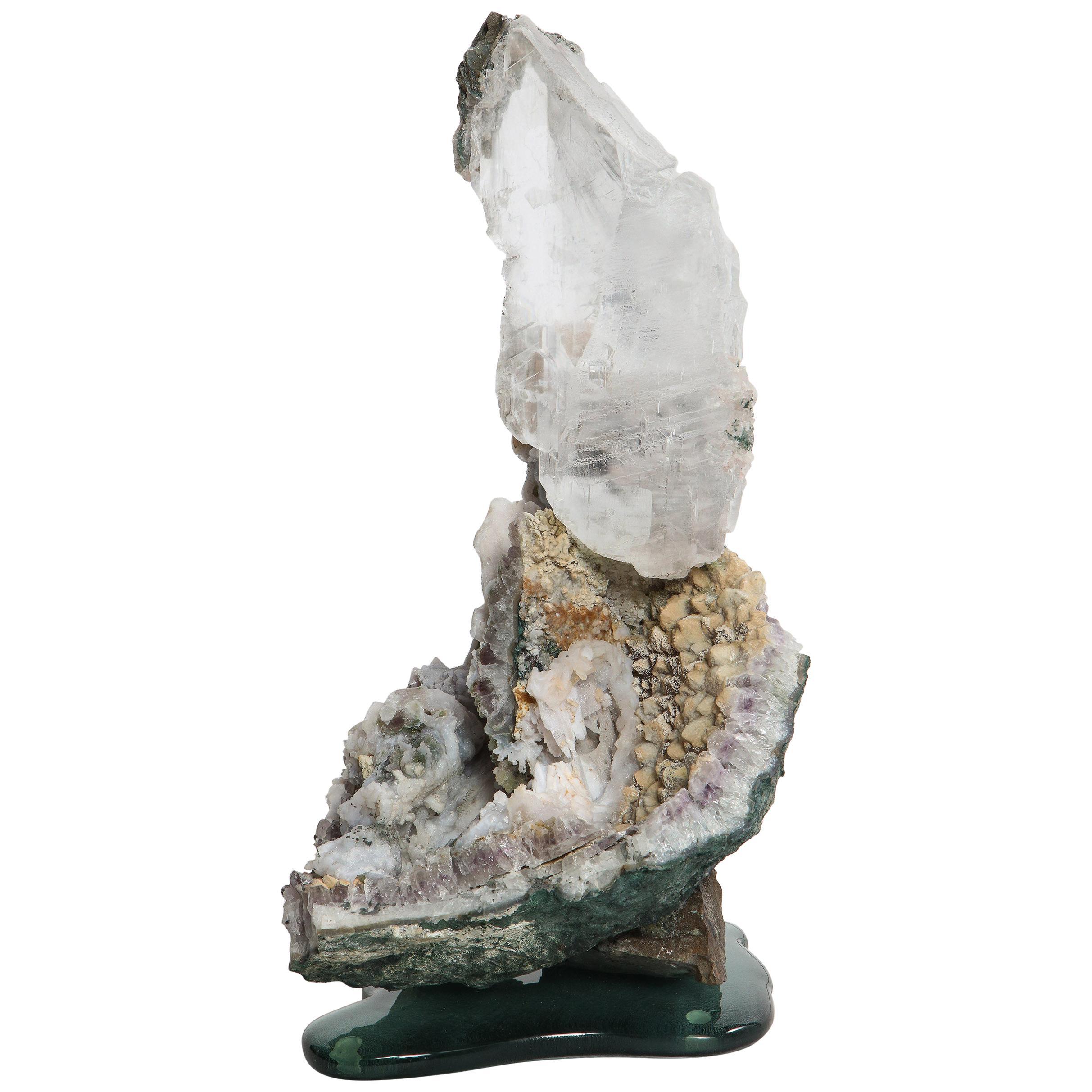Selenite on Cast Glass Base by Studio Greytak