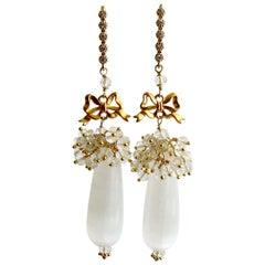 Selenite Teardrop Rock Crystal Cluster Earrings, Selena Earrings