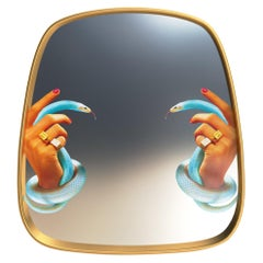 "Seletti ""Hand & Snakes"" Wall Mirror with Gold Frame by Toiletpaper"