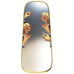 "Seletti ""Lipstick"" Large Wall Mirror with Gold Frame by Toiletpaper"