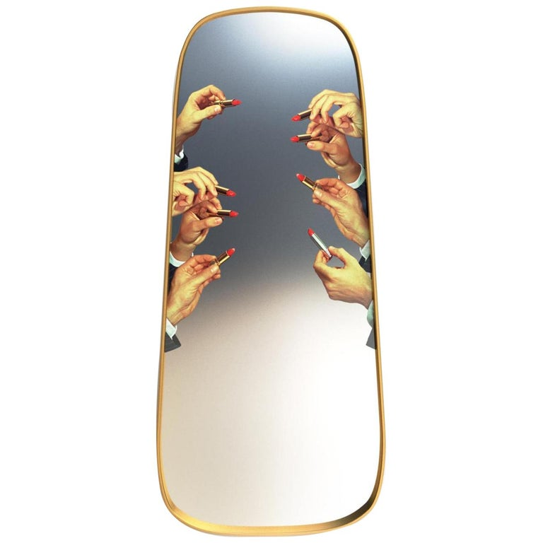 "Seletti ""Lipstick"" Large Wall Mirror with Gold Frame by Toiletpaper For Sale"