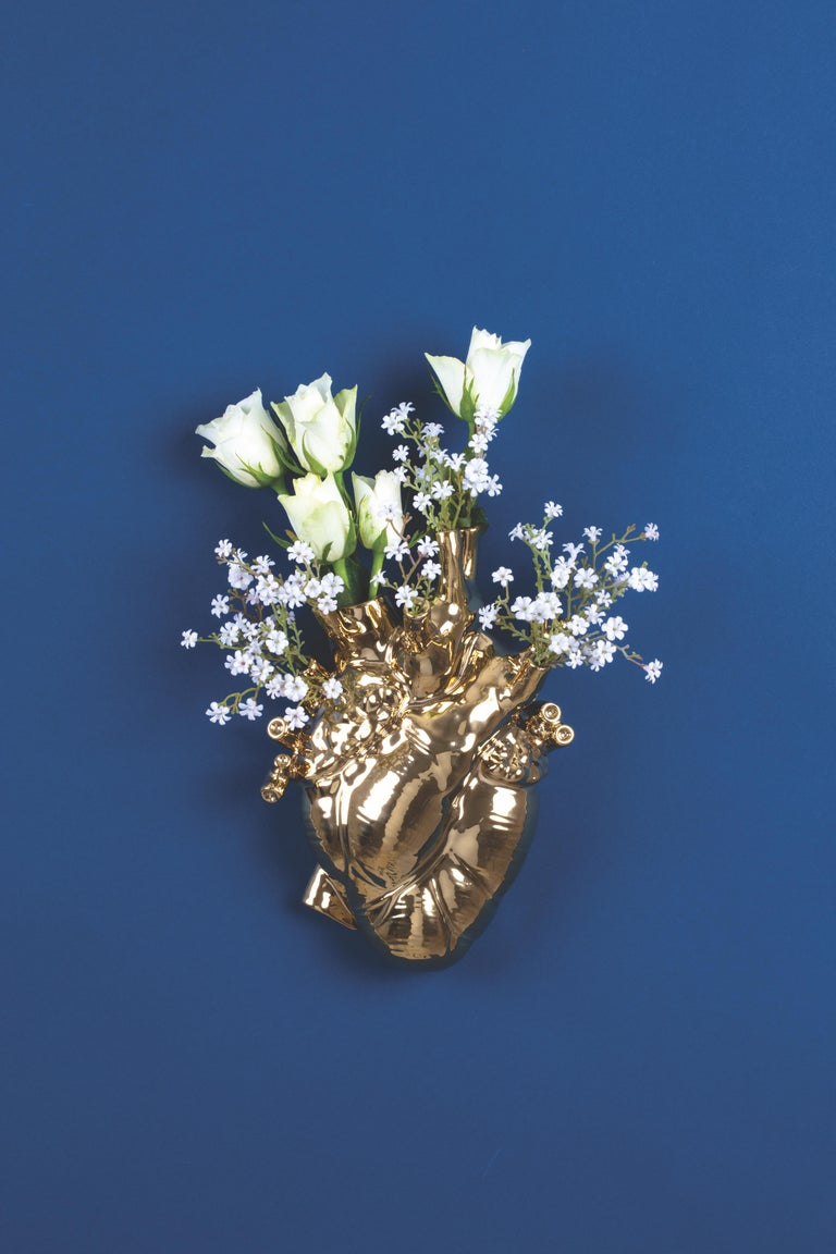 Seletti 'Love in Bloom' Gold Edition Heart Vase by Marcantonio For Sale 3