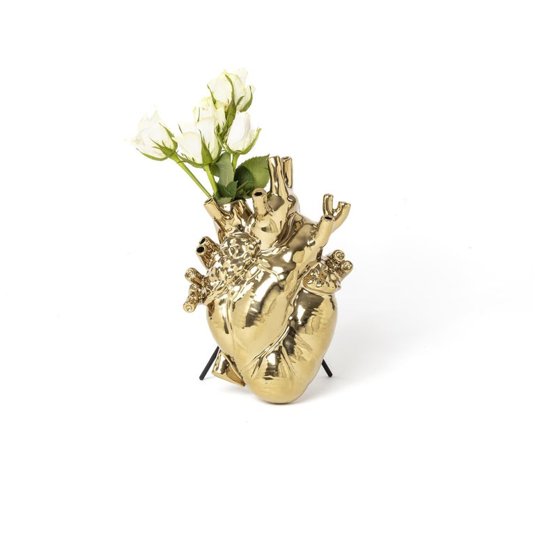 Modern Seletti 'Love in Bloom' Gold Edition Heart Vase by Marcantonio For Sale