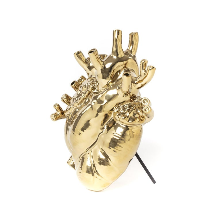 Italian Seletti 'Love in Bloom' Gold Edition Heart Vase by Marcantonio For Sale