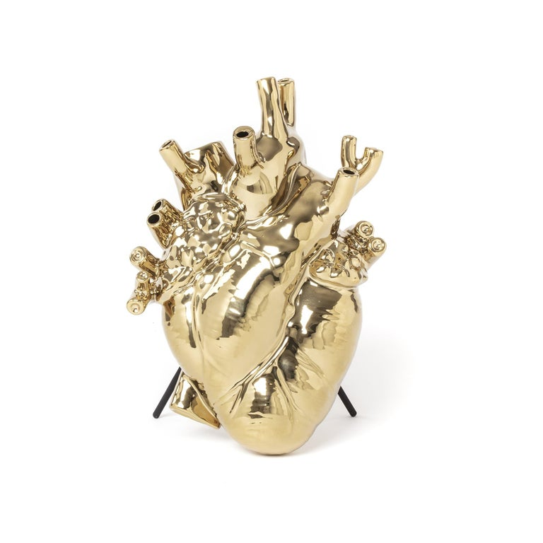 Seletti 'Love in Bloom' Gold Edition Heart Vase by Marcantonio For Sale 2