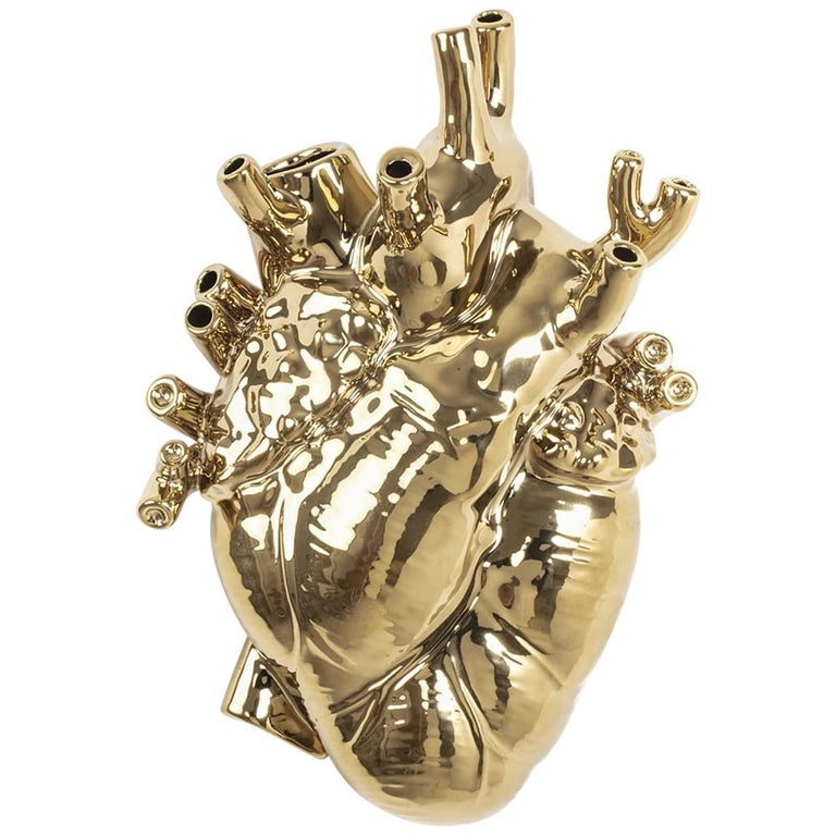 Seletti 'Love in Bloom' Gold Edition Heart Vase by Marcantonio For Sale
