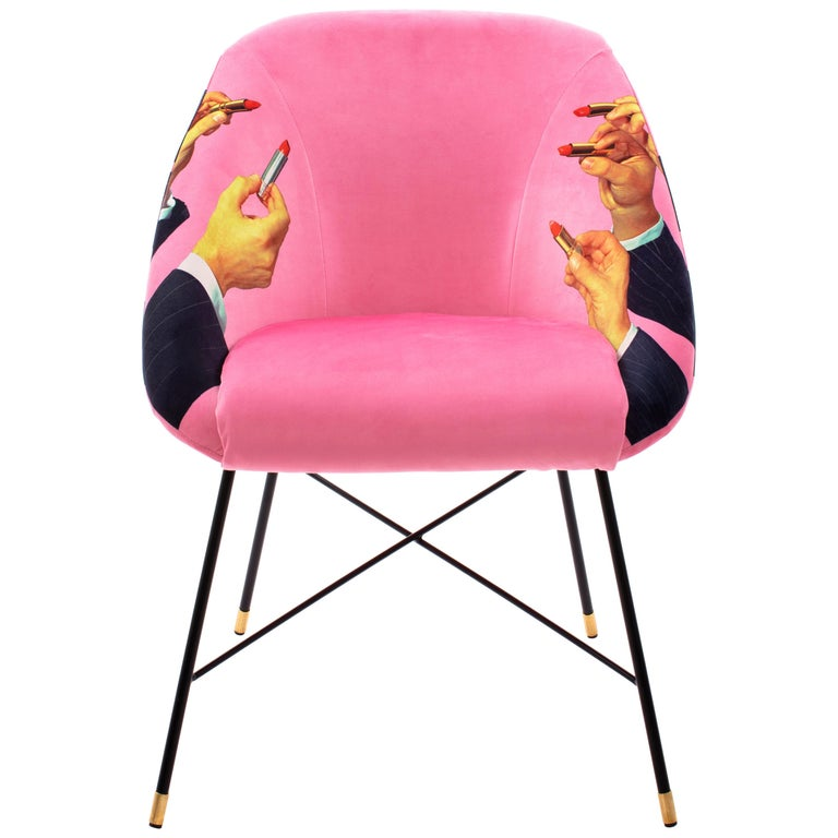 """Seletti Pink """"Lipsticks"""" Upholstered Occasional Chair by Toiletpaper For Sale"""