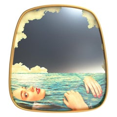 "Seletti ""Sea Girl"" Wall Mirror with Gold Frame by Toiletpaper"
