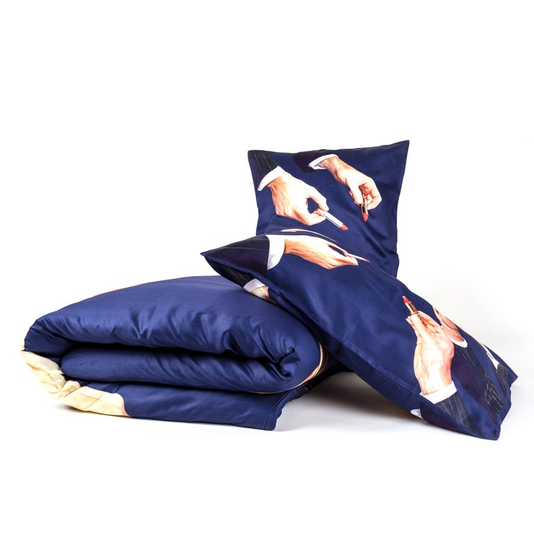 Modern Seletti Set Duvet Cover Cotton Piece and Two Pillow Cases
