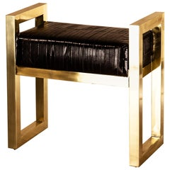 Selezioni Domus Florence Bench Stool Agrife Solid Brass and Natural Eel Leather