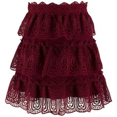 Self Portrait Burgundy Tiered Lace Skirt UK 8