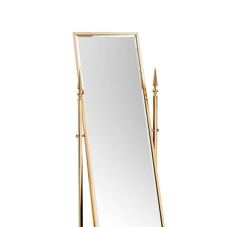 Mirror self portrait with structure in metal in gold finish. With mirror glass. Reclining mirror.