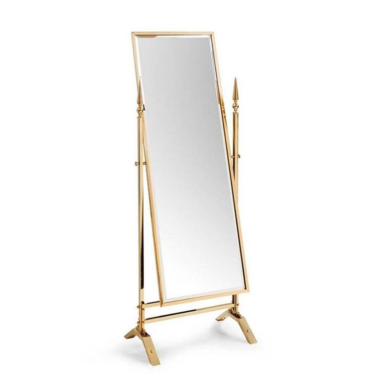 Italian Self Portrait Mirror Reclining in Gold Finish For Sale