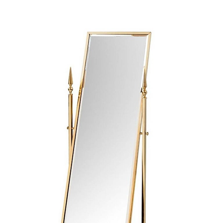 Gilt Self Portrait Mirror Reclining in Gold Finish For Sale