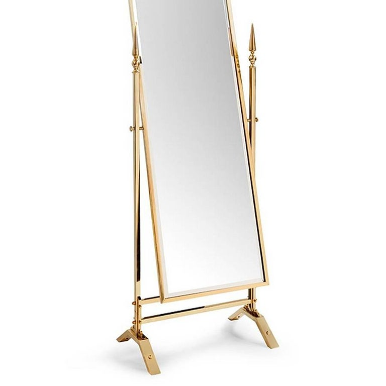 Contemporary Self Portrait Mirror Reclining in Gold Finish For Sale