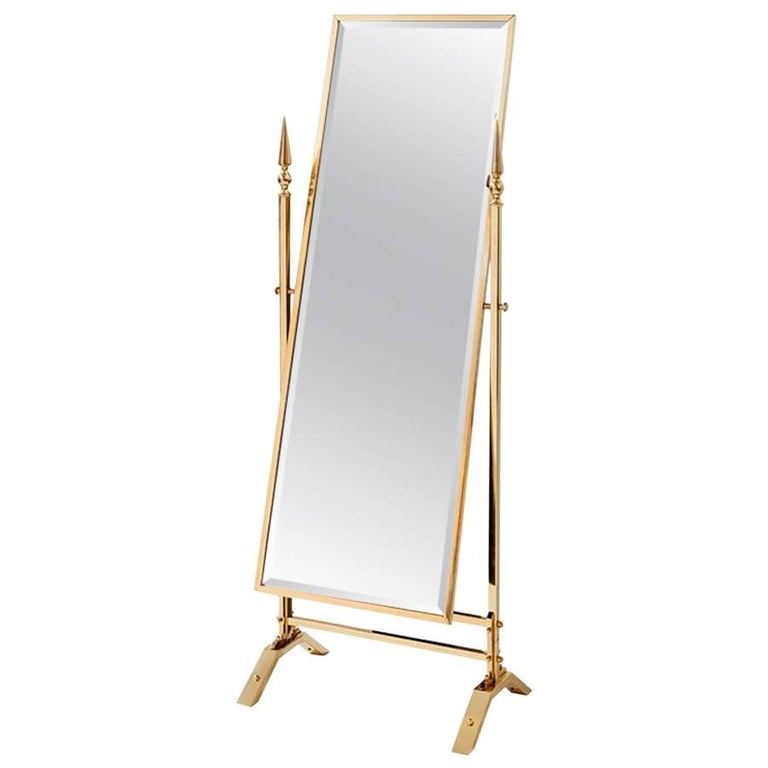 Self Portrait Mirror Reclining in Gold Finish For Sale