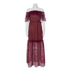 Self Portrait Red Lace Off Shoulder Frill Cutwork Dress S