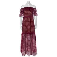 Self Portrait Red Lace Off Shoulder Frill Cutwork Maxi Dress M