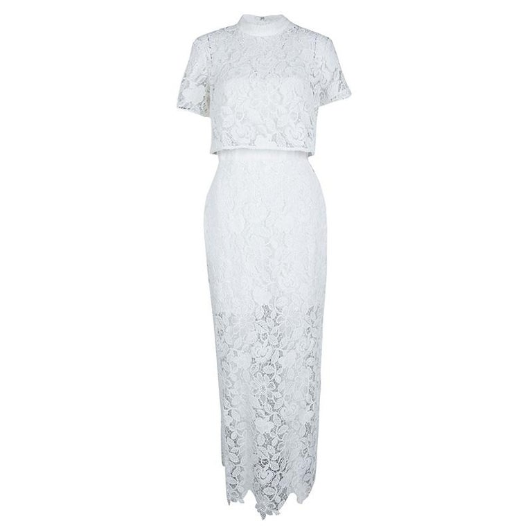 f16e50dfd314 Self Portrait White Cape Detail Guipure Lace Marcela Wedding Gown M For Sale