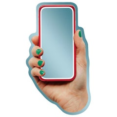 Selfin' Italy, 21st Century Contemporary Shaped Wall Mirror with Printed Phone