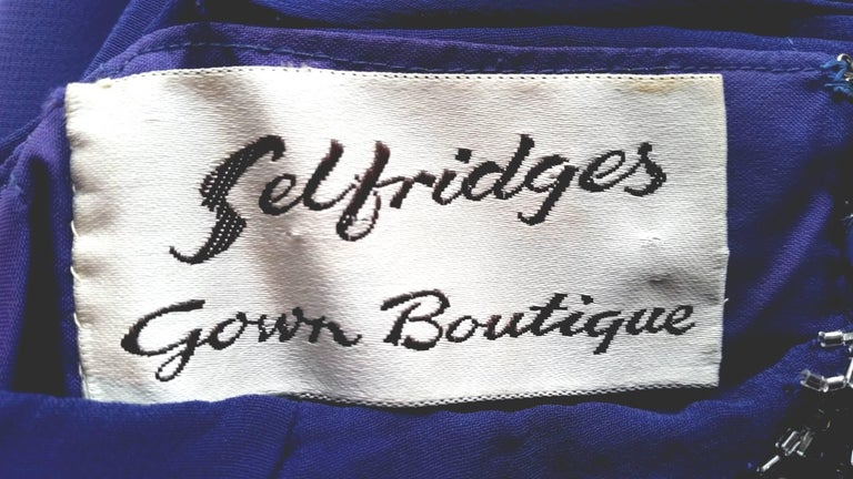 Selfridges Midnight Blue Chiffon Beaded Cocktail Dress, 1950s  In Excellent Condition For Sale In London, GB