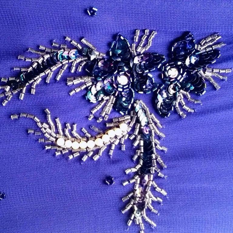 Women's Selfridges Midnight Blue Chiffon Beaded Cocktail Dress, 1950s  For Sale