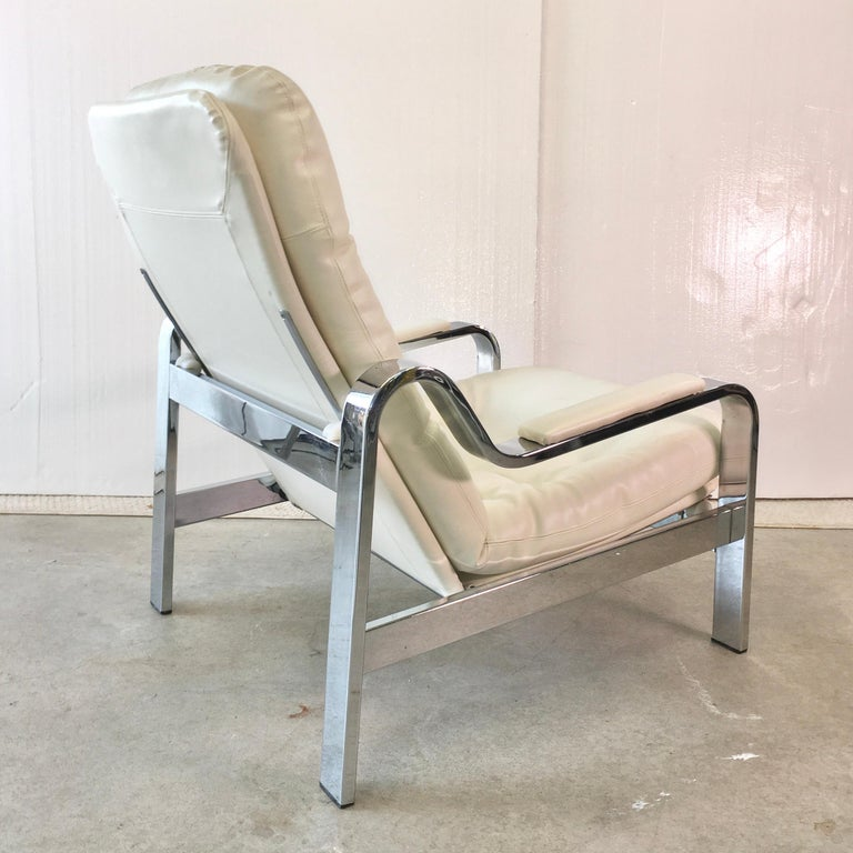 Selig 1970s Chrome Reclining Lounge Chair with Ottoman For Sale 8