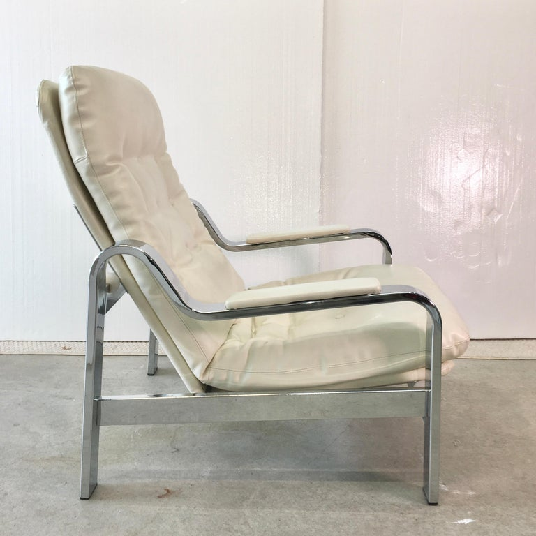 Selig 1970s Chrome Reclining Lounge Chair with Ottoman For Sale 9