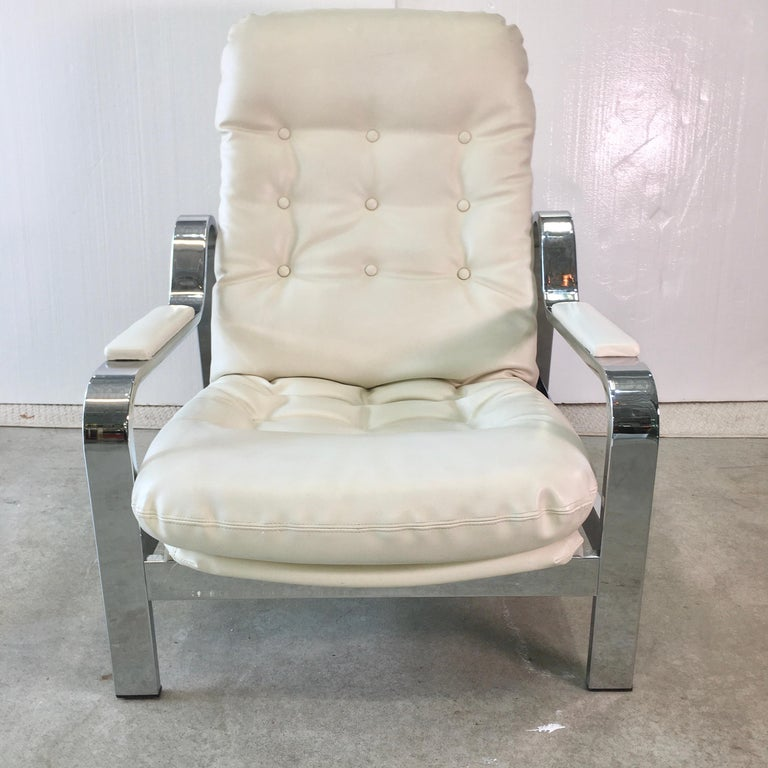 Selig 1970s Chrome Reclining Lounge Chair with Ottoman For Sale 10
