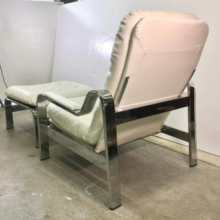 Mid-Century Modern Selig 1970s Chrome Reclining Lounge Chair with Ottoman For Sale