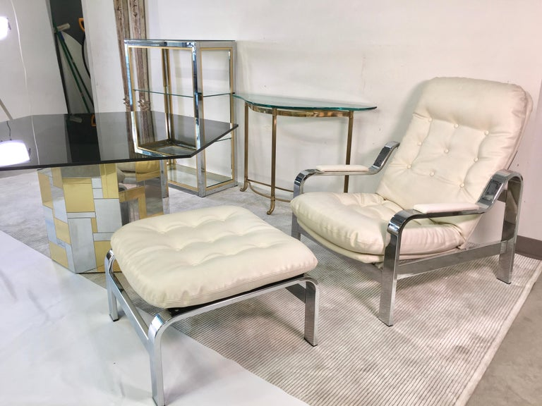 Italian Selig 1970s Chrome Reclining Lounge Chair with Ottoman For Sale