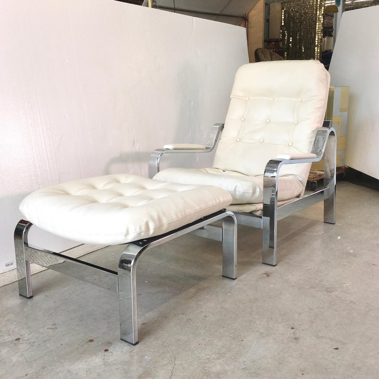 Selig 1970s Chrome Reclining Lounge Chair with Ottoman In Good Condition For Sale In Hingham, MA