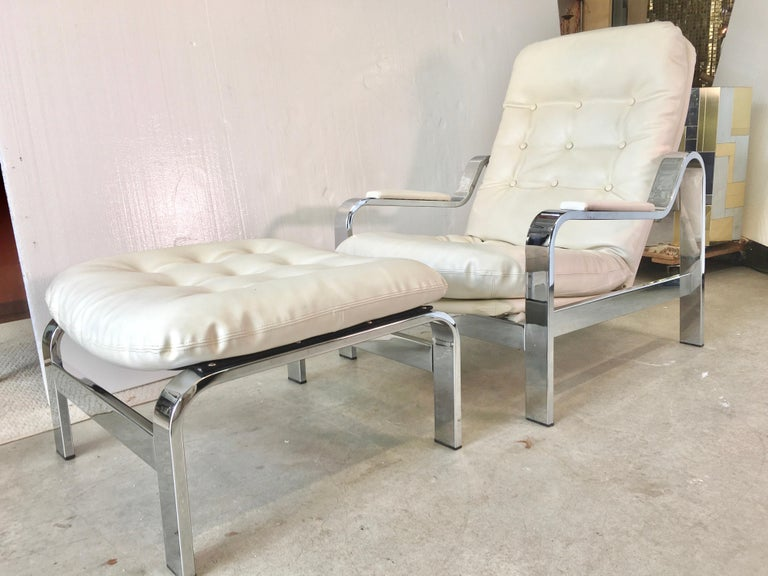 Late 20th Century Selig 1970s Chrome Reclining Lounge Chair with Ottoman For Sale