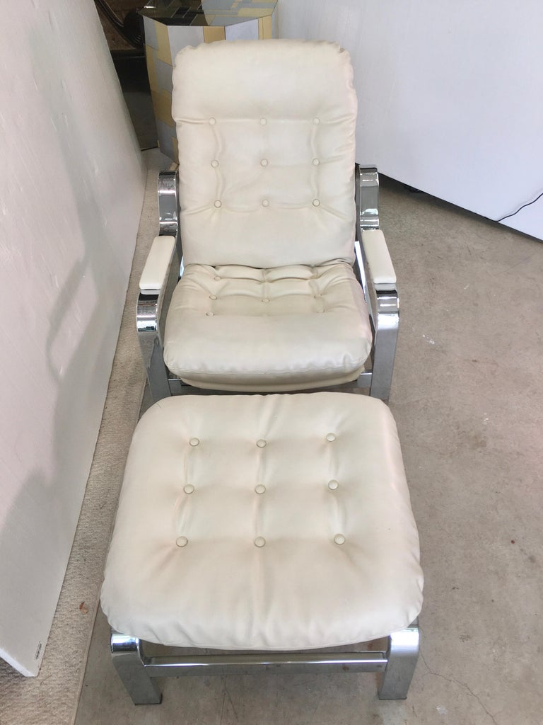 Leather Selig 1970s Chrome Reclining Lounge Chair with Ottoman For Sale