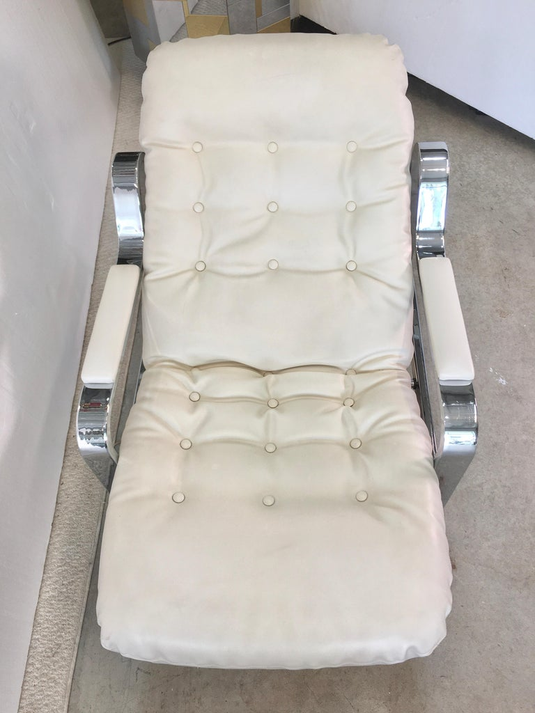 Selig 1970s Chrome Reclining Lounge Chair with Ottoman For Sale 2