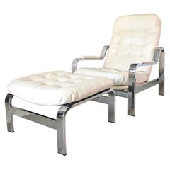 Selig 1970s Chrome Reclining Lounge Chair with Ottoman