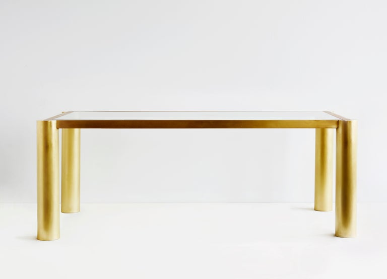 Seline table in walnut and brass by Cam Crockford