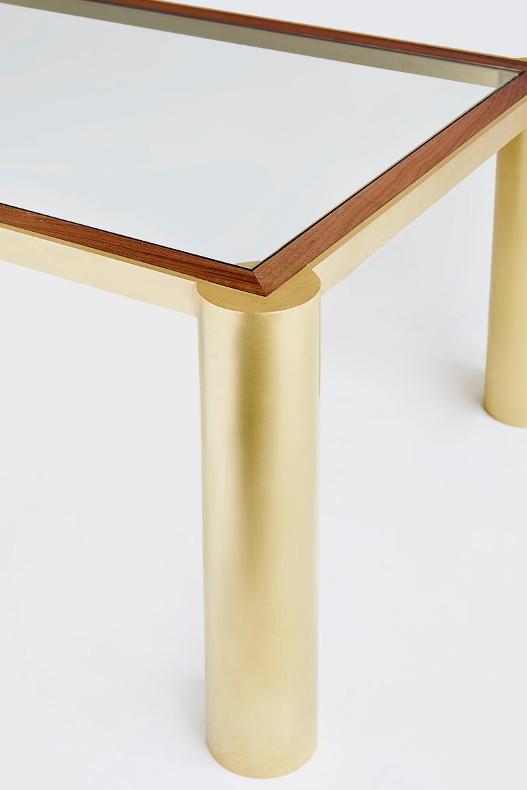 Modern Seline Table in Walnut and Brass by Cam Crockford For Sale