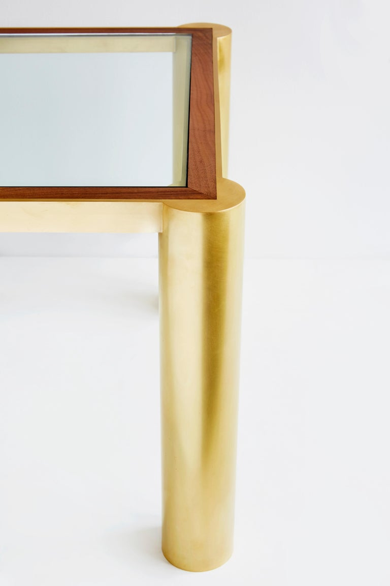 American Seline Table in Walnut and Brass by Cam Crockford For Sale