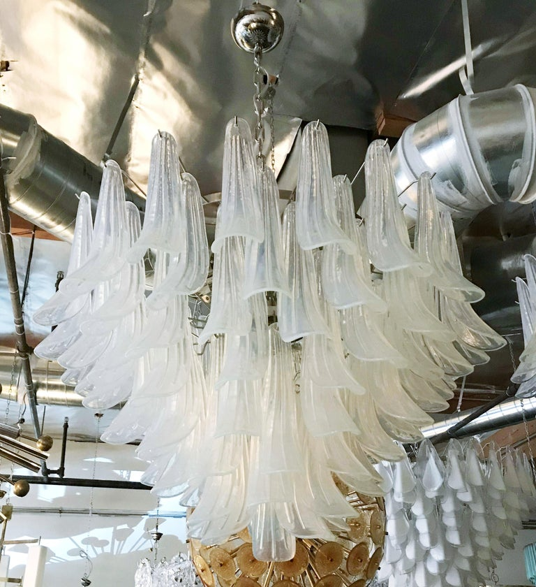 Italian chandelier with opaline Murano glasses hand blown into beautiful small saddles or leaves, mounted on nickel frame by Fabio Ltd / Made in Italy 13 lights / E26 or E27 type / max 60W each Measures: Diameter 36 inches, height 25 inches plus