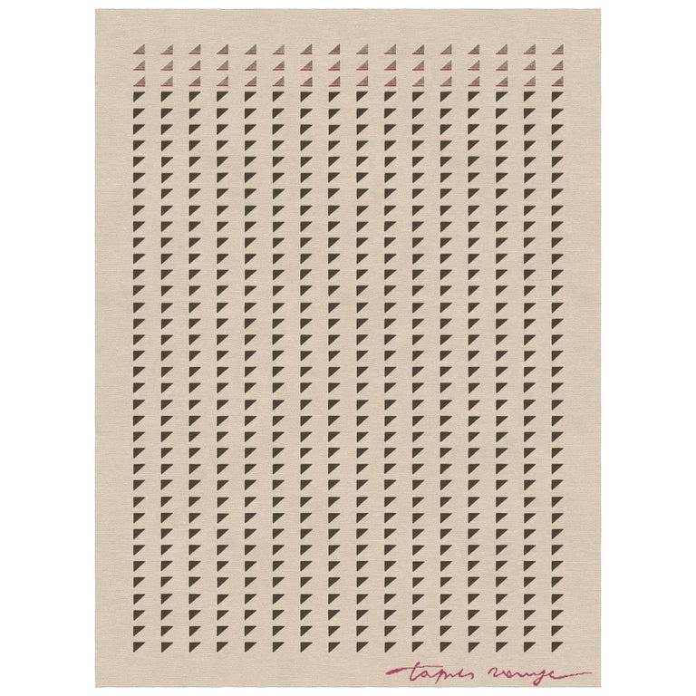 Sellero Tortora - Beige Geometric Hand Knotted Wool Bamboo Silk Rug For Sale