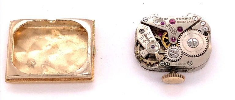 Sellita Ladies 14 Karat Gold Bracelet Wristwatch Swiss 17 Jewels For Sale 5