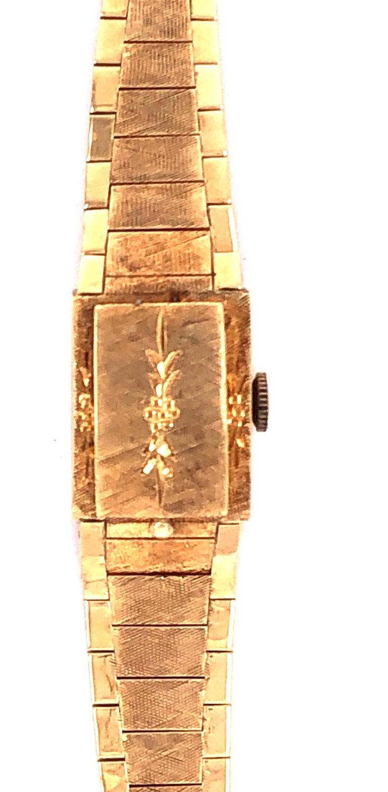Art Deco Sellita Ladies 14 Karat Gold Bracelet Wristwatch Swiss 17 Jewels For Sale