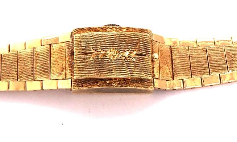 Sellita Ladies 14 Karat Gold Bracelet Wristwatch Swiss 17 Jewels For Sale 1