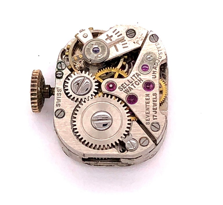 Sellita Ladies 14 Karat Gold Bracelet Wristwatch Swiss 17 Jewels For Sale 4