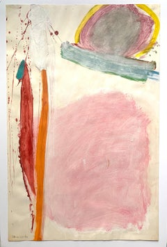 """1963 """"Orange and Pink Abstract"""" Mid Century Acrylic Abstract Painting"""